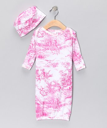 Pink Toile Organic Gown & Beanie - Infant