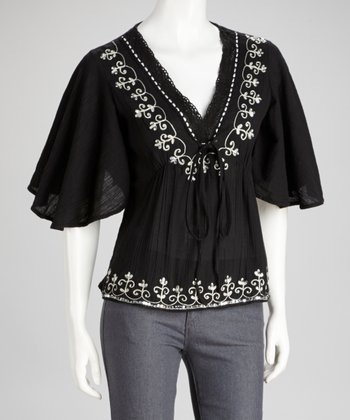 Black Embroidered Sequin Top