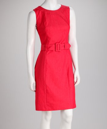 Red Belted Sleeveless Dress