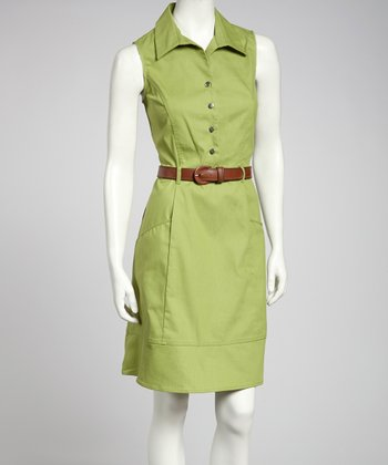 Avocado Belted Sleeveless Dress