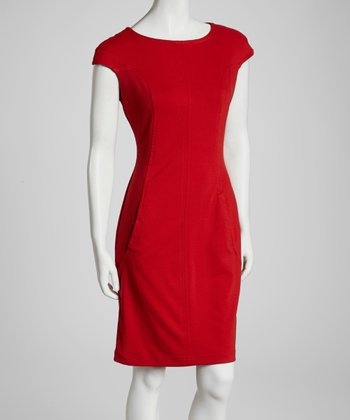 Love Red Pocket Cap-Sleeve Dress