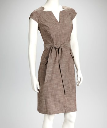 Brown Split-Neck Sheath Dress