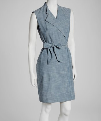 Chambray Surplice Sleeveless Dress