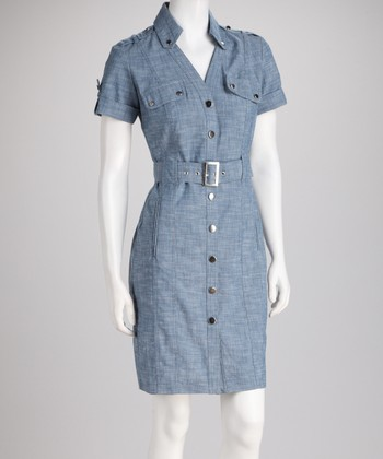 Chambray Belted Shirt Dress