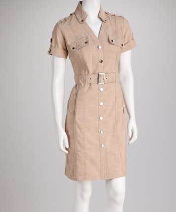 Tan Belted Shirt Dress