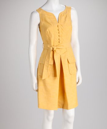 Yellow Tie-Waist Box Pleat Dress