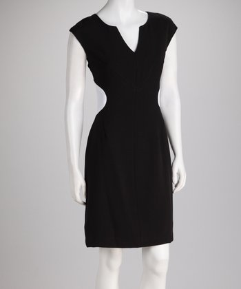 Black & Off-White Panel Cap-Sleeve Dress