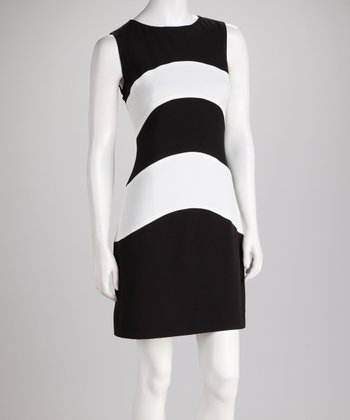 Black & Ivory Stripe Sleeveless Dress