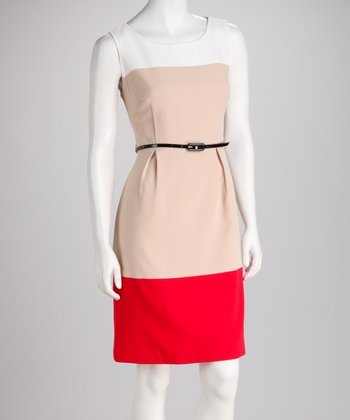 Beach & Teally Red Color Block Dress