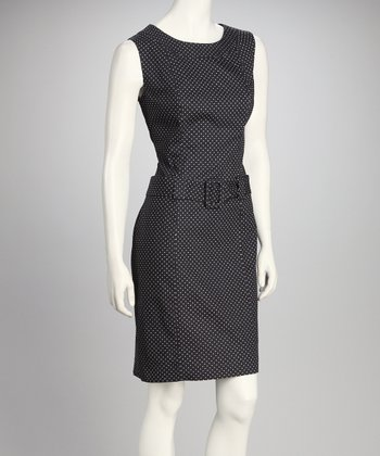 Black & White Polka Dot Belted Sheath Dress