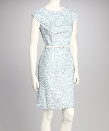 Blue Leopard Belted Dress