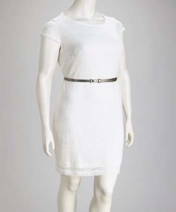 Ivory Knit Plus-Size Dress & Belt