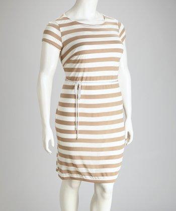 Tan Stripe Plus-Size Dress