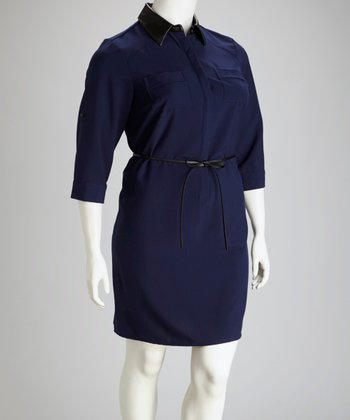 Navy Belted Shirt Dress - Plus