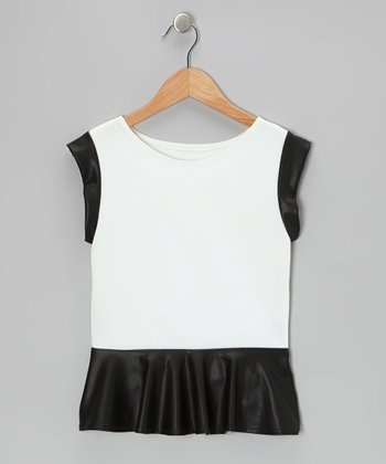 White Faux Leather Peplum Top - Girls