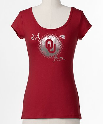 Crimson Oklahoma Bow Back Top