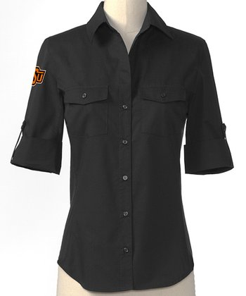 Black Oklahoma State Button-Up