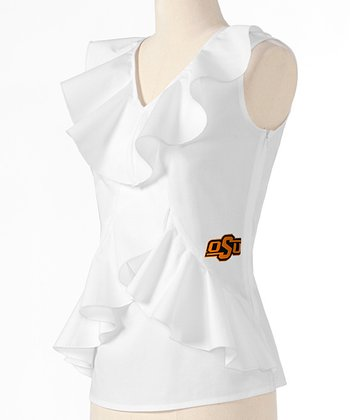 White Oklahoma State Ruffle Sleeveless Top