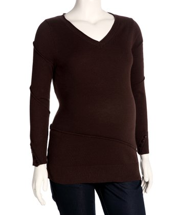 Brown Maternity V-Neck Sweater - Women