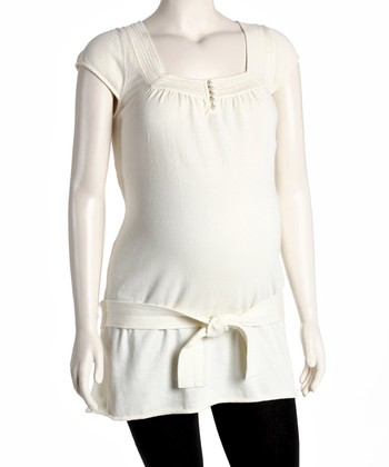Ivory Maternity Square Neck Tunic