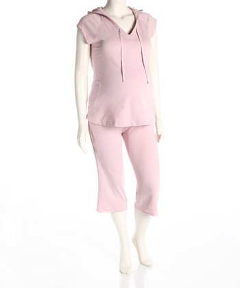 Heather Pink Maternity Hoodie & Capri Pants - Women