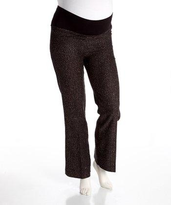 Black & Brown Herringbone Over-Belly Maternity Pants