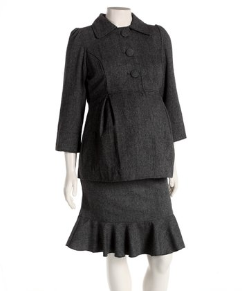 Gray Wool-Blend Maternity Jacket & Skirt