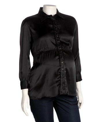 Black Maternity Button-Up