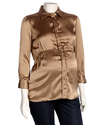 Gold Maternity Button-Up - Women