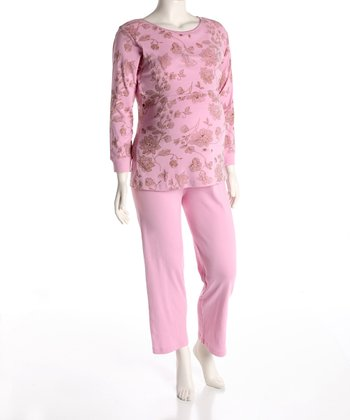 Pink Maternity & Nursing Tee & Lounge Pants - Women