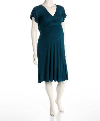Teal Maternity Surplice Dress - Women