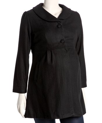 Black Long Wool-Blend Maternity Coat