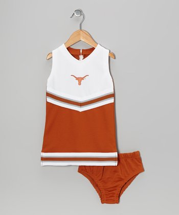 Burnt Orange Texas Cheer Dress & Undershorts - Toddler & Girls