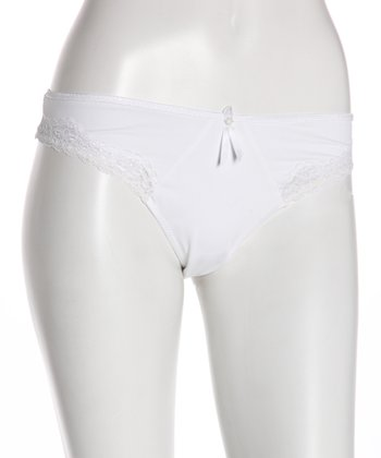 White Lace Trim Microfiber Maternity Thong