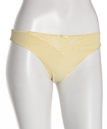 Yellow Lace-Front Maternity Thong