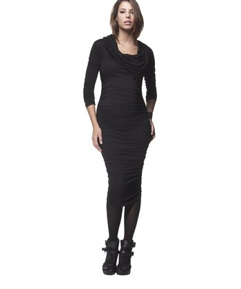Caviar Black Cowl Neck Maternity Dress