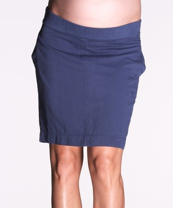 French Navy Twill Under-Belly Maternity Skirt