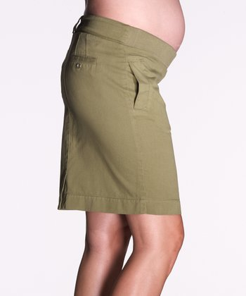 Khaki Twill Under-Belly Maternity Skirt
