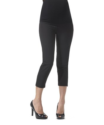 Caviar Black Over-Belly Maternity Capri Pants