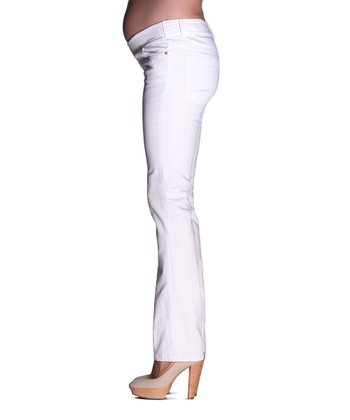 White Brooke Mid-Belly Maternity Straight-Leg Jeans