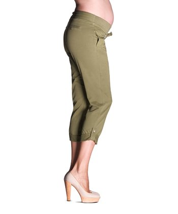Khaki Twill Under-Belly Maternity Capri Pants