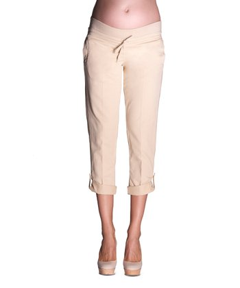 Stone Twill Maternity Capri Pants