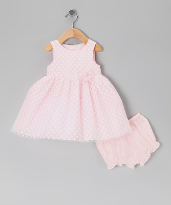 Pink & White Polka Dot Dress & Diaper Cover - Infant