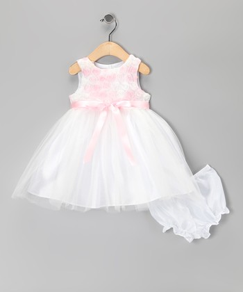 Pink & White Ballerina Dress & Diaper Cover - Infant