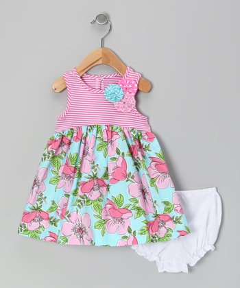 Pink & Turquoise Floral Dress & Diaper Cover - Infant