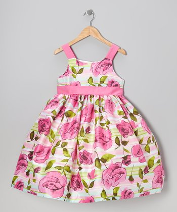 Pink & Green Rose Dress - Girls