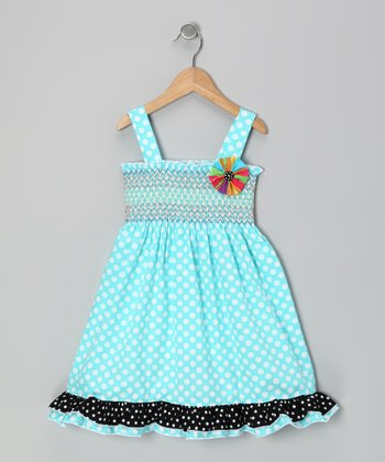 Turquoise Shirred Sundress - Girls