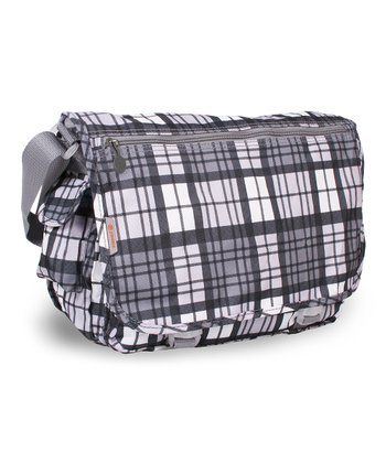 Gray Tartan Terry Messenger Bag