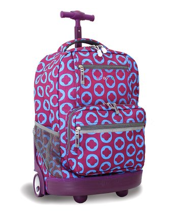 Grape Geometric Sunset Wheeled Backpack
