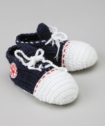 Navy & White Play Ball Crochet Booties